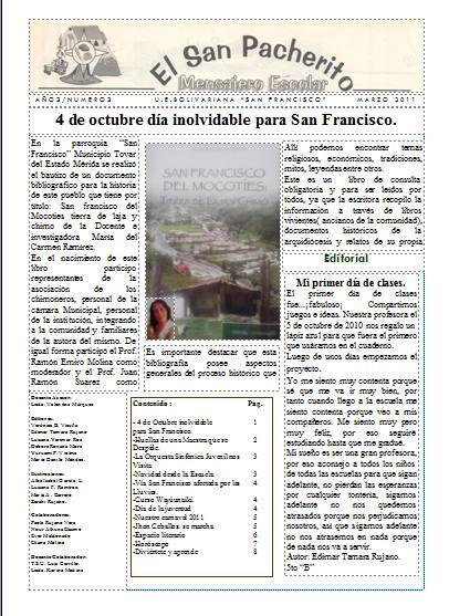 El san pacherito mensajero escolar periodico escolar de for El periodico mural y sus secciones